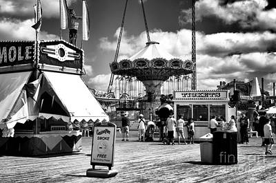 Seaside Heights Casino Pier Mono Art Print by John Rizzuto