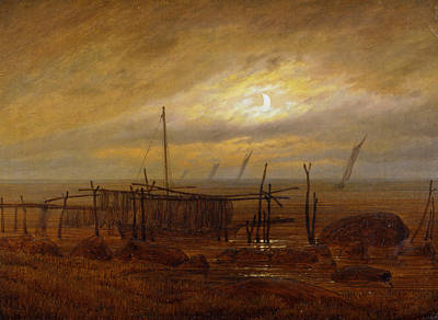 Painting - Seaside Moonlight by Caspar David Friedrich