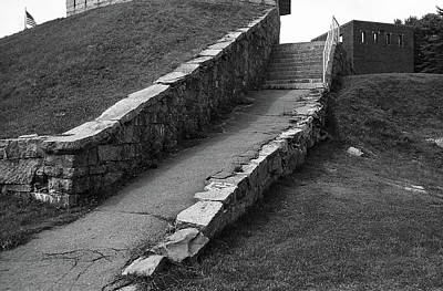 Photograph - Seaside Staircase, Piscataqua River, Maine Bw by Frank Romeo