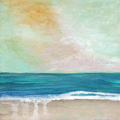 Waves Mixed Media - Seaside Sunset- Expressionist Landscape by Linda Woods