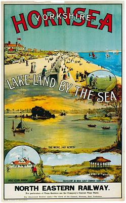 Royalty-Free and Rights-Managed Images - Seaside Town Scene from Hornsea Yorkshire - Vintage Travel Poster by Studio Grafiikka