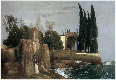 Villa Painting - Seaside Villa by Arnold Bocklin