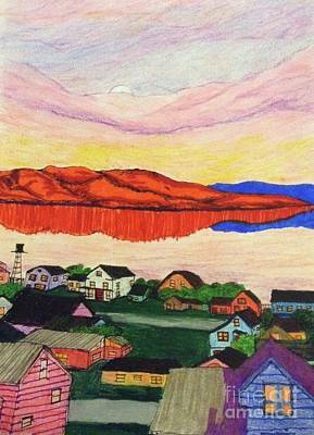 Mountain Sunset Drawing - Seaside Village  by Ishy Christine MudiArt Gallery