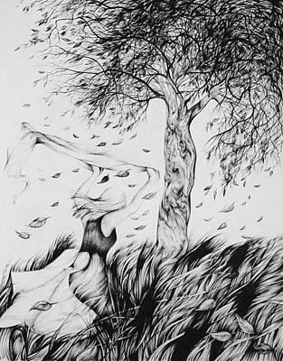 Autumn Foliage Drawing - Season Of Falling Leaves by Anna  Duyunova