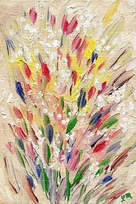 Yellow Flowers Painting - Seasonal Expectations by Linda Mears