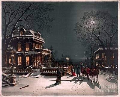 Painting - Seasonal Winter Holiday Christmas Eve By J Hoover by R Muirhead Art