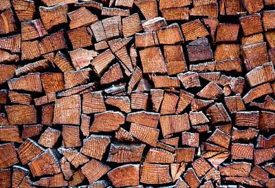 Fire Wood Photograph - Seasoned Firewood Stacking Pattern by Frank Tschakert