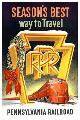 Mixed Media - Season's Best Way To Travel, Pennsylvania Railroad - Retro Travel Poster - Vintage Poster by Studio Grafiikka