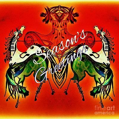 Pearl Jam Drawing - Seasons Greetings Dancing Musical Horses by Scott D Van Osdol