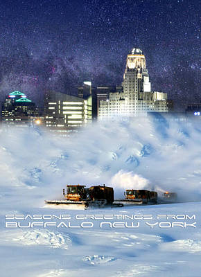 City Scape Wall Art - Digital Art - Seasons Greetings From Buffalo by Peter Chilelli