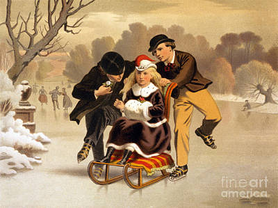 Seasons Greetings, Happy Holidays, 1869 Art Print