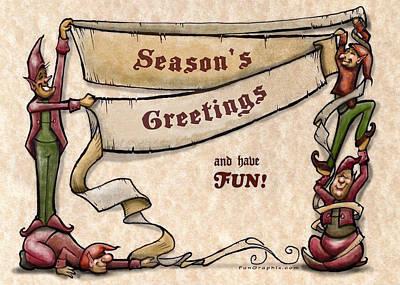Elves Digital Art - Season's Greetings by Kevin Middleton