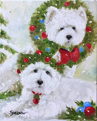 Terrier Painting - Season's Greetings by Mary Sparrow
