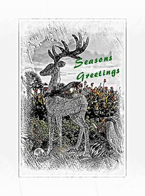 Mixed Media - Seasons Greetings Reindeer by Bob Pardue