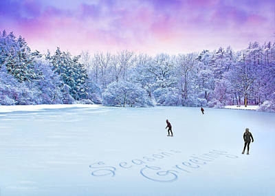 Photograph - Seasons Greetings Skaters  by Ed Dooley