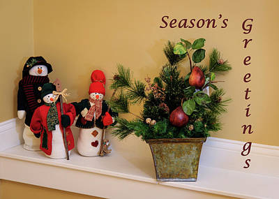 Photograph - Season's Greetings Snowmen Greeting Card by Joni Eskridge