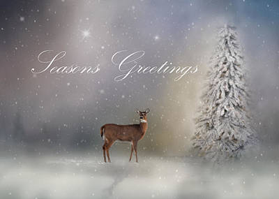Photograph - Seasons Greetings With Deer by Ann Bridges