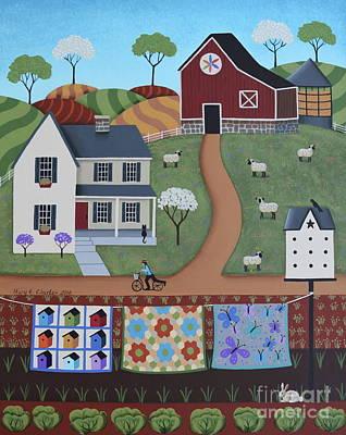 Sheep Folk Art Painting - Seasons Of Rural Life - Spring by Mary Charles