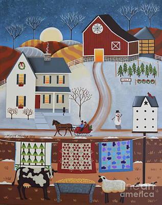 Sheep Folk Art Painting - Seasons Of Rural Life - Winter by Mary Charles