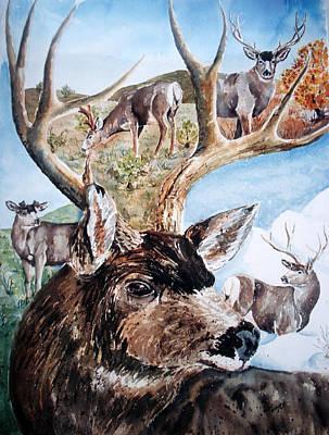 Wall Art - Painting - Seasons Of The Deer by Cheryl Bishop