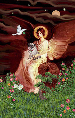 Painting - Seated Angel With Pug by Jean Batzell Fitzgerald