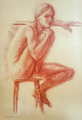 Brown Toned Art Drawing - Seated At The Barre by Sarah Parks