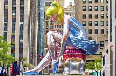 Full Skirt Painting - Seated Ballerina At Rockefeller Center 1 by Lanjee Chee