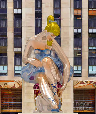 Installation Art Painting - Seated Ballerina At Rockefeller Center 3 by Lanjee Chee