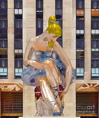 Full Skirt Painting - Seated Ballerina At Rockefeller Center 3 by Lanjee Chee