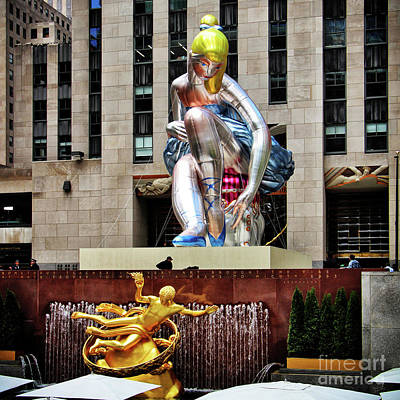 Installation Art Photograph - Seated Ballerina Rockefeller Plaza 2 by Nishanth Gopinathan