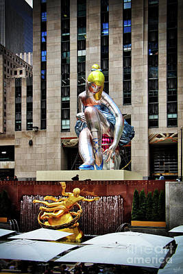 Installation Art Photograph - Seated Ballerina Rockefeller Plaza 3 by Nishanth Gopinathan