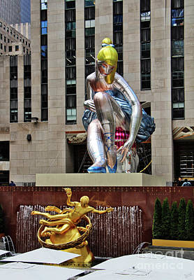 Installation Art Photograph - Seated Ballerina Rockefeller Plaza by Nishanth Gopinathan