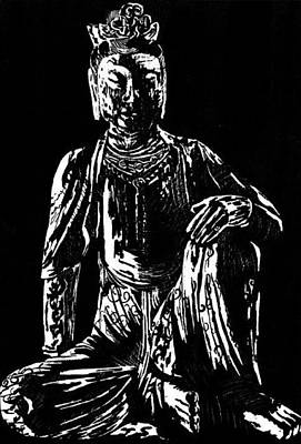 Drawing - Seated Buddha by Ashley Kujan