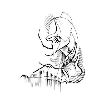 Art Print featuring the drawing Seated Ennui by Keith A Link