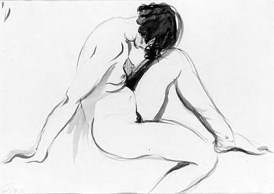 Drawing - Seated Female Nude by Alexander Stirling Calder