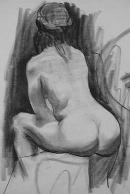 Drawing - Seated Female Nude, Back View No. 1 by Robert Holden