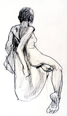 Realist Drawing - Seated Female Nude From Back by Roz McQuillan
