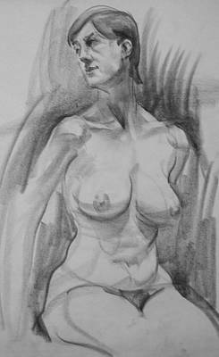 Drawing - Seated Female Nude Looking To Her Right by Robert Holden