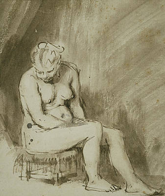 Wash Drawing - Seated Female Nude by Rembrandt
