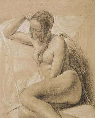 Etching Drawing - Seated Female Nude by Sir John Everett Millais