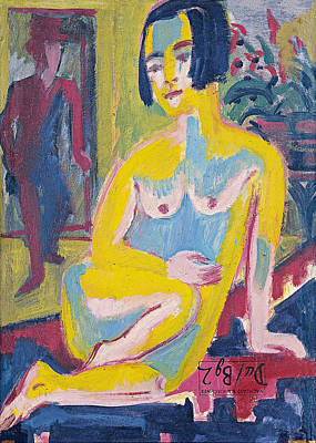 Women Painting - Seated Female Nude, Study by Ernst Ludwig Kirchner