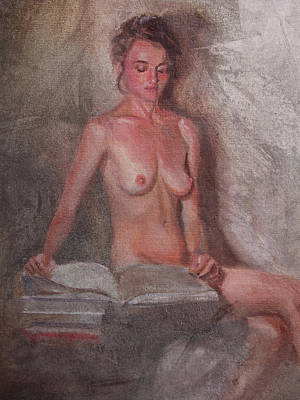 Painting - Seated Figure With Books by Emily Olson
