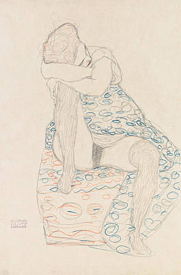 Drawing - Seated Figure With Gathered Up Skirt by Gustav Klimt