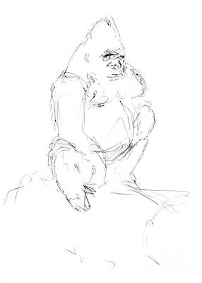 Drawing - Seated Gorilla Sketch by Adam Long