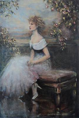 Seated Lady And Flowers Art Print by Caroline Anne Du Toit