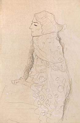 Lady In Red Drawing - Seated Lady With Ornamented Cape In Profile From The Left by Grypons Art