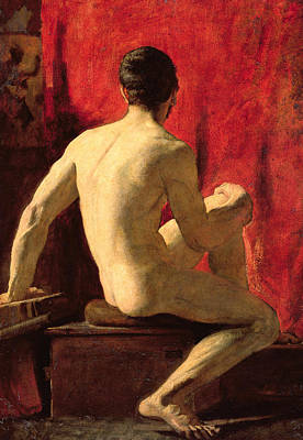 Red Drape Painting - Seated Male Model by William Etty