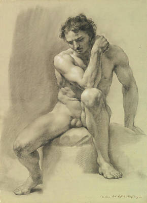 Drawing - Seated Male Nude  by Anton Raphael Mengs