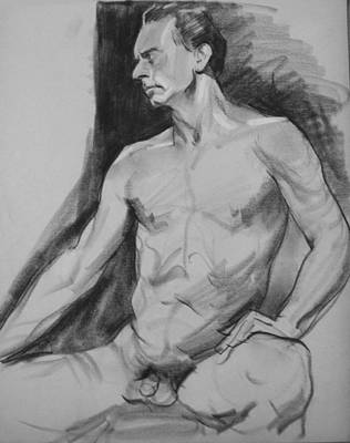Drawing - Seated Male Nude, Hand On Thigh, Looking Right by Robert Holden