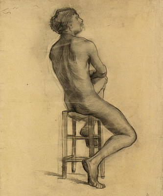 Oneself Painting - Seated Male Nude Seen From The Back, 1886 by Vincent Van Gogh